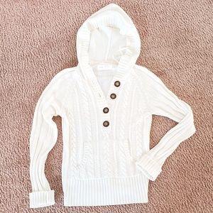 Cute White Hooded Braided Sweater Aeropostale